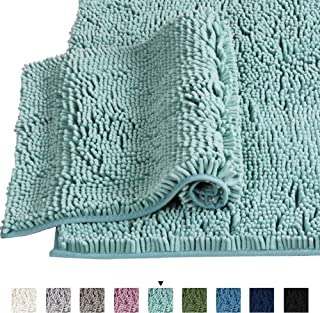 """Microfiber Bath Rugs Chenille Floor Mat Ultra Soft Washable Bathroom Dry Fast Water Absorbent Bedroom Area Rugs, 20"""" x 32""""/17"""" x 24"""", Eggshell Blue"""