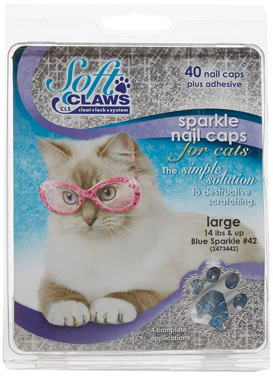 Soft Claws for Cats, Size Large, Color Blue Glitter