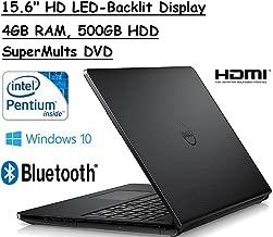 Dell Inspiron 15.6-Inches Premium High Performance HD LED-Backlit Laptop (Intel Pentium Quad-Core Processor up to 2.4GHz, 4GB RAM, 500GB HDD, Webcam, WiFi, HDMI, DVDRW, Bluetooth, Windows 10), Black