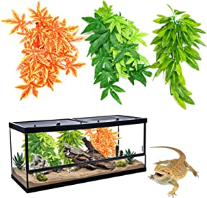 HYLYUN 3 Pack Reptile Plants - Hanging Silk Terrarium Plant with Suction Cup for Bearded Dragons Lizards Geckos Snake Hermit Crab Tank Habitat Decorations
