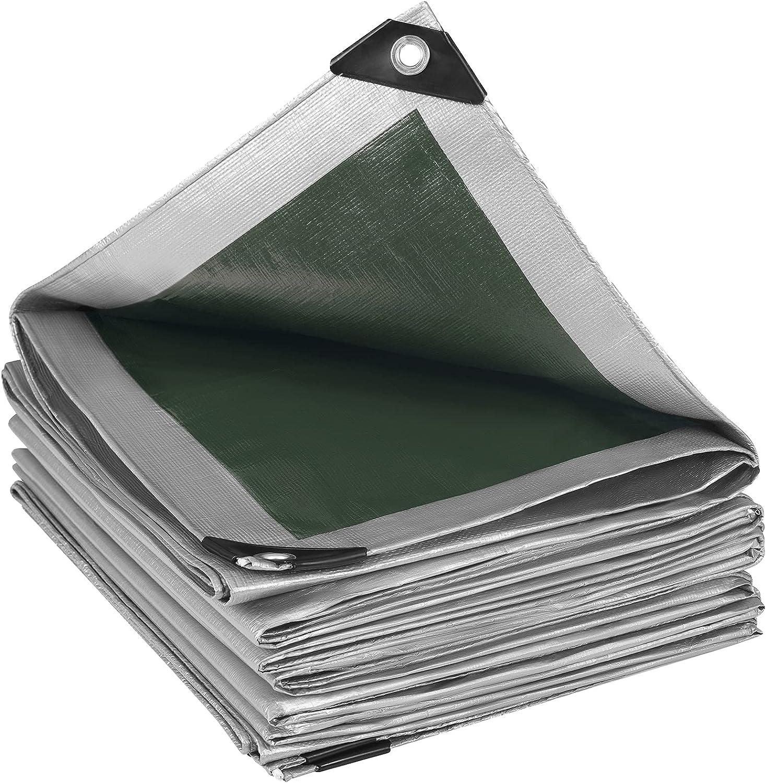 WOLTU Lona Impermeable Lona de Protección , Duradera con Ojales para Muebles, Jardín, Piscina, Coche 280 g/m2 Gris-Verde 4x6m