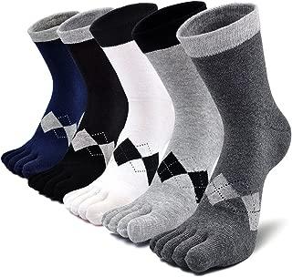 Mens Toe Socks Cotton Athletic Running Five Finger Crew Socks