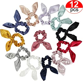 W~sugar 12 Pack Solid Color Rabbit Ears Scrunchy Rabbit Ear Hair Bands Bow Ties Ponytail Holder Elastic Cotton stretch Hair Ties - Satin Fabric Hair Accessories For Women or Girls