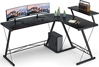 "Coleshome Reversible L Shaped Desk 60.8"" Home Office Desk with Round Corner Computer Desk with Large Monitor Stand, PC Tab..."