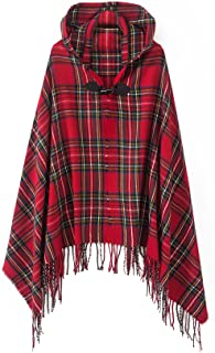 Women`s Vintage Plaid Knitted Tassel Poncho Shawl Cape Button Cardigan