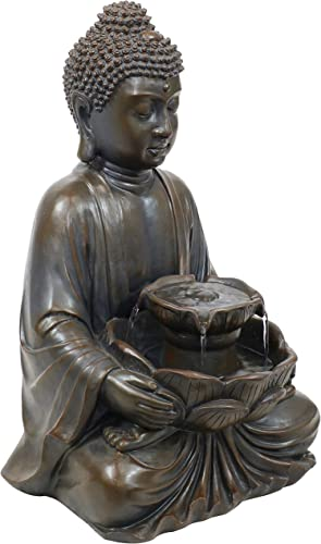 popular Sunnydaze Peaceful online Buddha Indoor or Outdoor Zen 2021 Water Fountain with Electric Submersible Pump - Polyresin Design - Patio, Lawn and Landscape Decoration - 18-Inch outlet online sale