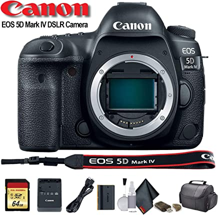 $2143 Get Canon EOS 5D Mark IV DSLR Camera (International Model) (1483C002) with 64GB Memory Card, Case, Cleaning Set and More - Starter Bundle