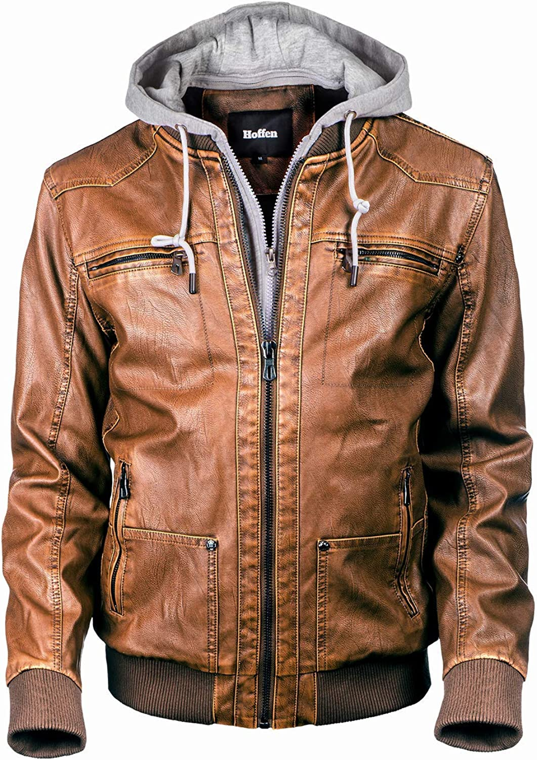 Hoffen Department store Premium Vegan Leather Jacket with for Detachable Men's Ho New product! New type