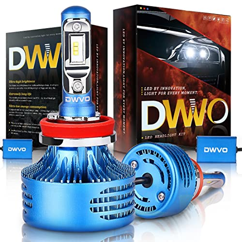 DWVO H11 H8 LED Headlight Bulbs, 6500K 16000Lm Super Bright Hi/Lo Beam Headlight