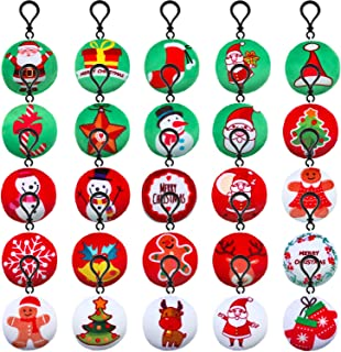 Gejoy 25 Pieces Christmas Tree Hanging Dolls Mini Plush Keychain Hanging Ornaments for Christmas Day Decoration