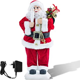 Christmas Decorations 24 Inch Tall Standing Santa Animated Moving Figurine with UL Plug (Red and White with Light Up Candle)