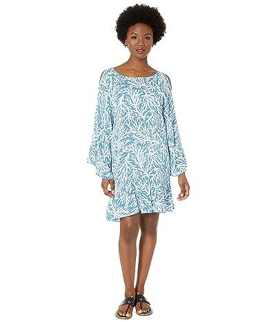 MICHAEL Michael Kors Off the Shoulder Cover-Up Dress (Grecian Blue) Women