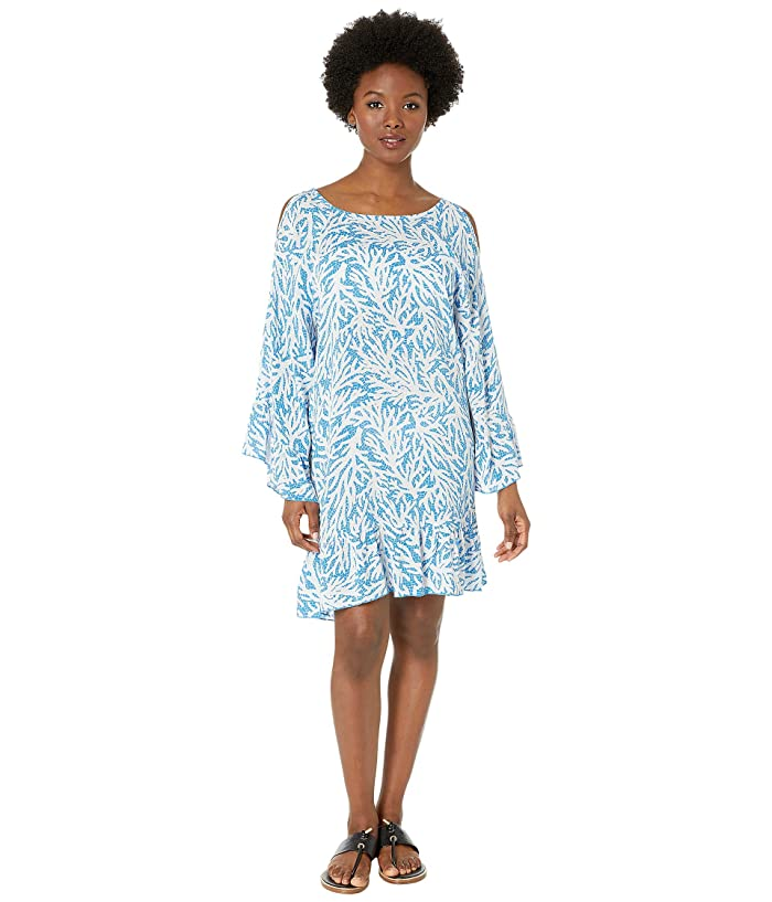 MICHAEL Michael Kors Off the Shoulder Cover-Up Dress (Grecian Blue) Women