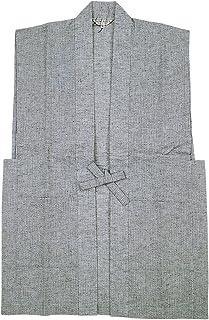 夏用 しじら織-陣羽織ベスト 綿75麻25 グレイ