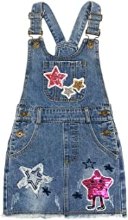 Peacolate 4-9T Little&Big Girls Suspender Overalls Star Denim Dress