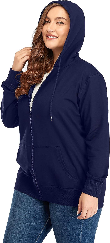 ZERDOCEAN Women's Plus Size Full Zip-Up Hoodie Jacket Cotton Sweatshirt