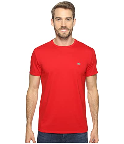 Lacoste Short-Sleeve Pima Jersey Crewneck T-Shirt (Red) Men