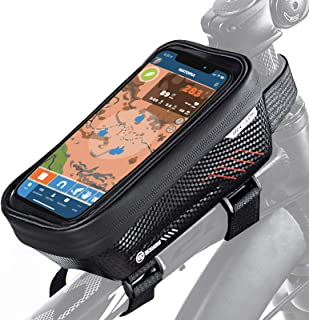 "BUCKLOS Bicycle Front Frame Bag Fit Under 6.5"",Waterproof Bike Phone Bag Front Top Tube Bike..."