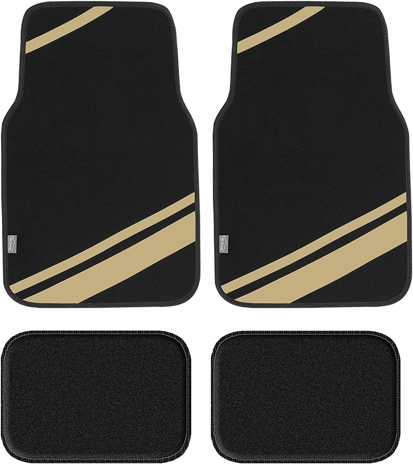 with Faux Leather for Cars, Coupes, Small SUVs FH Group F14501BLACK Universal Fit Carpet Floor Mats Full Set