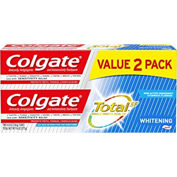 Colgate Total Whitening Toothpaste with Fluoride, Multi Benefit Toothpaste with Sensitivity Relief and Cavity Protection - 4.8 ounce (2 Pack)