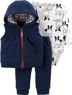 4dedcf326f457a Carter's Baby Girls 3 Piece Vest Set, French Bulldog, 24 Months