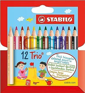 Lápiz de color escolar triangular, grueso y corto STABILO Trio thick short - Estuche con 12 colores