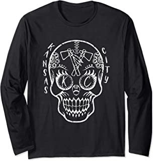Kansas City Sugar Skull for Chiefs Fans Football Long Sleeve T-Shirt