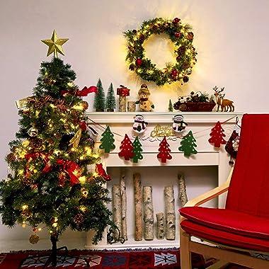 Christmas garland with lights,20 LED 6.56FT christmas garland string lights,Pine Garland,Battery Powered garland Lights Chris