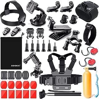 ZOOKKI Sports Camera Accessories Kit for Hero 7 6 5 Session 5 Black Silver SJ4000/SJ5000/SJ6 Legend/SJCAM M20/AKASO EK5000 EK7000/Xiaomi Yi 4K/WiMiUS