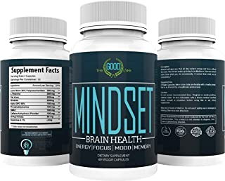 Mindset - Performance Enhancing Nootropic - Brain Health - Extra Strength w/Veggie Capsules - All Day Energy, Focus & Clarity - Enhanced Mood & Memory - Lions Mane, DMAE, Rhodiola, L-Theanine, More