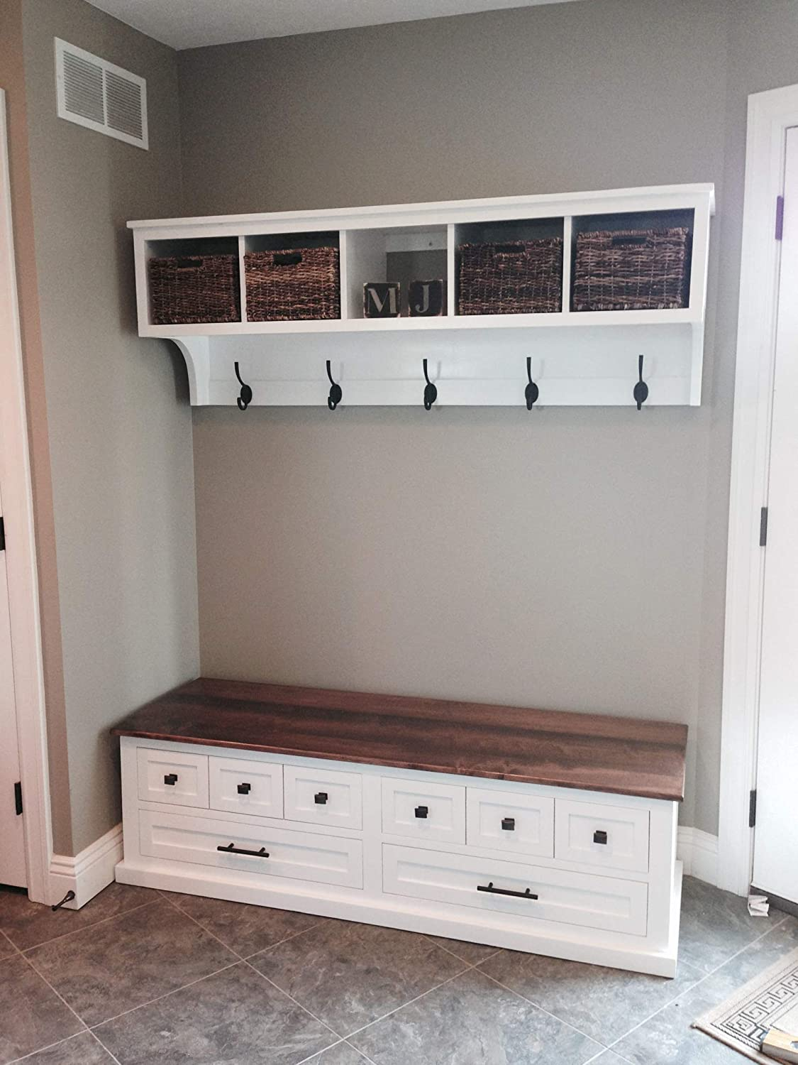 Amazon.com: Entryway Cubby and Bench, Wall Storage Cubical with