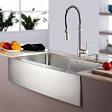 """Kraus KHF200-33-KPF1612-KSD30SS 33"""" Farmhouse Single Bowl Stainless Steel Kitchen Sink with Stainless Steel Finish Kitchen Faucet and Soap Dispenser"""