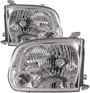 HEADLIGHTSDEPOT Chrome Housing Halogen Headlights Compatible with Toyota Sequoia Tundra Includes Left Driver and Right Passenger Side Headlamps