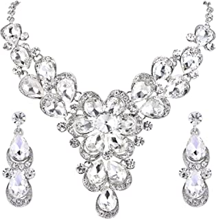 Clearine Women's Wedding Bridal Crystal Teardrop Shape Petal Flower Statement Necklace Dangle Earrings Set