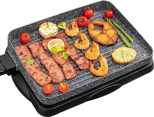 popular Electric Grill Indoor Korean BBQ Barbecue 1500W discount Granite Stone Nonstick Detachable Flat Tabletop Smart 5-Heat Plate popular PFOA-Free Family Size Gray online sale