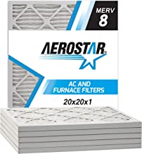 Aerostar 20x20x1 MERV 8 Pleated Air Filter, Made in the USA, 6-Pack