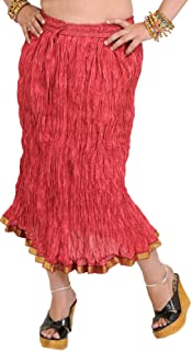 Exotic India Garnet-Rose Elastic Midi Crinkled Skirt with Printed Paisleys - Red
