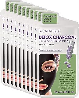 Skin Republic Detox Charcoal Plus Superfood Formula Face Mask Sheet Protects Skin One Mask Per Pack 10 Packs