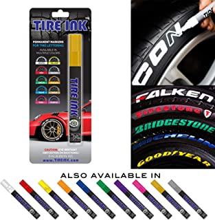 Tire Ink | Paint Pen for Car Tires | Permanent and Waterproof | Carwash Safe (1 Pen, Gold)