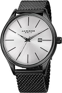 Akribos XXIV Black and Gunmetal Designer Men's Watch - Classic and Casual Round Stainless Steel Mesh Fashion Bracelet Wristwatch - AK959