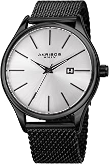 Akribos XXIV Black and Gunmetal Designer Men's Watch - Classic and Casual Round Stainless Steel Mesh Fashion Bracelet Wristwatch - AK959