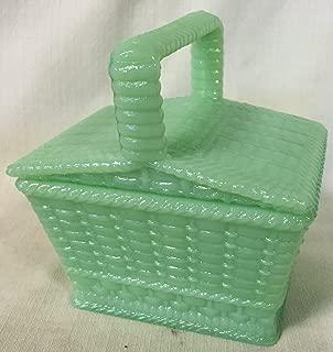 Picnic Basket Covered Candy Dish - American Made - Jade Jadeite Jadite Green Glass