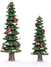 Napco Festive Green Red Tree Cardinals 16 inch Acrylic Decorative Tabletop Figurine, Set of 2