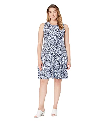 MICHAEL Michael Kors Plus Size Ikat Sleeveless Flounce Dress (Shore Blue) Women
