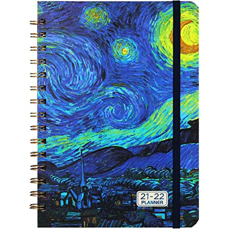 """2021-2022 Planner - July 2021 - June 2022 Monthly Weekly Planner with Tabs, 6.4""""x 8.5"""", Starry Cover, Flexible Hardcover, Strong Binding, Thick Paper, Back Pocket, Elastic Closure"""