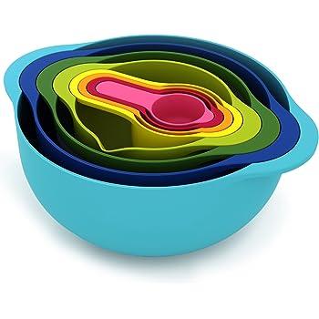 Joseph Joseph 40086 Nest 8 Nesting Bowls Set with Mixing Bowls Measuring Cups Sieve Colander, 8-Piece, Multicolored