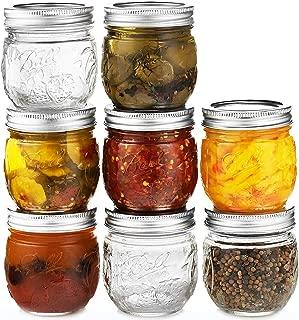 Ball Regular Mouth Mason Jars 8 oz, Set of 8 Canning Jars, with Airtight lids & Bands - Safe For Canning, Fermenting, Pickling, Storage - Beverages & Decor. Toxin Free. + SEWANTA Jar Opener