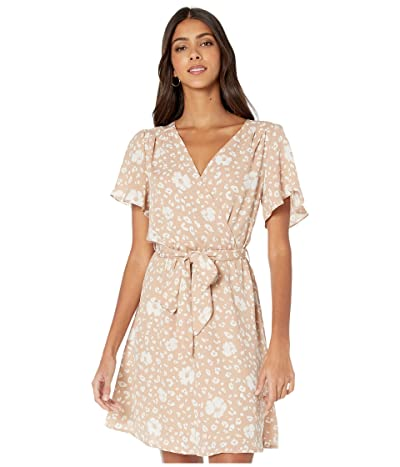 American Rose Natalia Short Sleeve Floral Wrap Dress (Taupe/White) Women