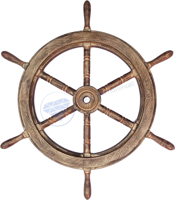 Classic Antique golden Pirate's Boat Ship Wheel   Wall Decor   Sea Gift   Nagina International   (12 Inches)