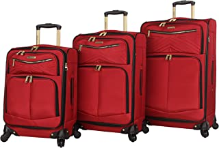 3 Piece Softside Spinner Suitcase Set Collection (Rockstar Red, One Size)